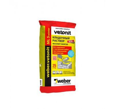 Ветонит МЛ 5 Наттас кремово-белый 150 зимний (кладочный раствор), 25 кг