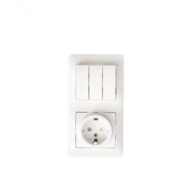Блок (3-х кл.выкл.+ розетка с з/к ,со штороками) Schneider Electric Glossa белый