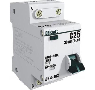 Автомат дифференциальный1P+N, 25А, тип АC, 30мА, 4,5кА, Dekraft ДИФ-102