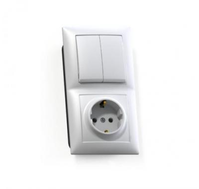 Блок Селена с/у белый двухклавишный выключатель 10А + розетка с з/к 16А