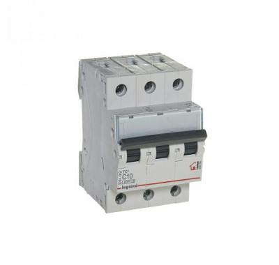 Автомат 3P, 10А, тип С, 6кA, Legrand, TX3