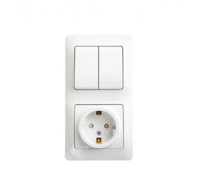 Блок (2-х кл.выкл.+ розетка с з/к ,со штороками) Schneider Electric Glossa белый