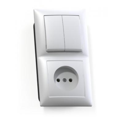 Блок Селена с/у белый двухклавишный выключатель 10А + розетка без з/к 16А