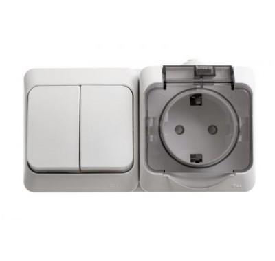 Блок о/у (2-кл. выкл.+ розеткас з/к со шторками) Schneider Electric Этюд белая