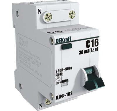 Автомат дифференциальный1P+N, 16А, тип АC, 30мА, 4,5кА, Dekraft ДИФ-102